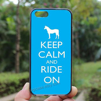 Keep Calm and Ride On, Horse, blue ,iphone 4 case,iPhone4s case, iphone 5 case,iphone 5c case,Gift,Personalized,water proof