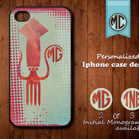 Personalized iPhone Case - Plastic or Silicone Rubber Monogram iPhone 4 4S Case Cover - K003