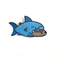 Pancake Shark Iron on patch, cute patches, kawaii patch