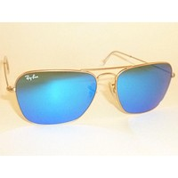 New RAY BAN Caravan Sunglasses Matte Gold Frame RB 3136 112/17 Blue Mirror 55mm