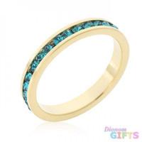 Stylish Stackables Turquoise Crystal Gold Ring (size: 09)