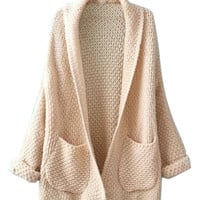 Beige Lapel Pocket Detail Long Sleeve Knit Cardigan