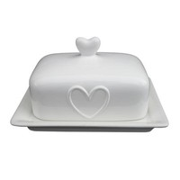 White Country Heart Collection Butter Dish | Dunelm