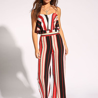 Black and Red Pinstripe Palazzo Pants