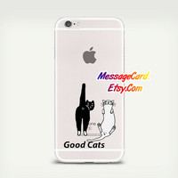 Two Cats Clear Phone Case for iPhone 6 6s plus 6 6s 5s 5 4s 4 , Ctystal Clear iPhone 6 6s Case , Custom Clear iPhone 6 6s Case , Transparent