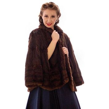 Vintage 40s Dark Brown Muskrat Fur Convertible Cape/ Stole O/S Hollywood Glamour