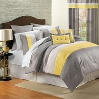 Brylanehome 8 Pc. Essence Comforter Set (Yellow Grey,Queen)