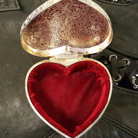 A Small Silver Plated Heart Shaped Jewelry Ring Box With Floral Vine Leaf Design Etching
