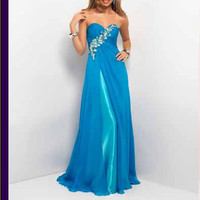 2014 Strapless Sweetheart Evening Prom Dress Ball Party Gowns Pageant Dresses, beaded Bridesmaid dress Formal Dress