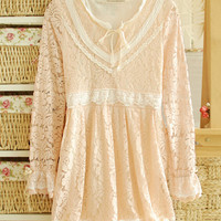 Beige Flounce Long Sleeve Floral Lace Pleated Mini Dress