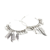 Falcon Feather Hoop Earrings In Silver