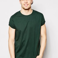 ASOS T-Shirt With Crew Neck In Relaxed Skater Fit With Rolled Sleeves