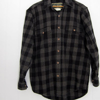 Vintage Grunge Heavy Flannel Work Farm Brawny Shirt Jacket Black Gray hunting S