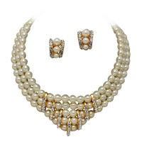 CLIP ON EARRINGS & 3 Strand V Neck Cream Pearl and Rhinestone Bridal Necklace
