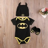 Newborn Toddler Baby Boys Long sleeve Clothes Romper Playsuit Shoes Hat Outfits Set