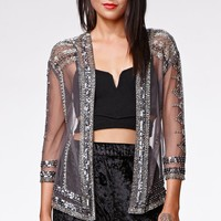 Kendall & Kylie Beaded Open Cardigan - Womens Shirts - Gray - One