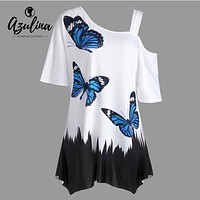 AZULINA Plus Size Butterfly Print Tunic T-Shirt Casual Women Skew Collar Half Sleeve Cut Out Ladies Tops 2018 Summer T Shirts