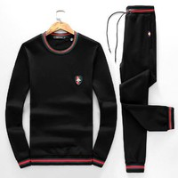 Gucci Black Men Top Sweater Pullover Pants Trousers Set Two-Piece Sportswear