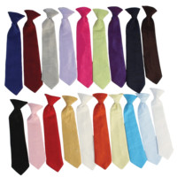 Poly Silk Solid Boys Clip-on Necktie in Assorted Colors