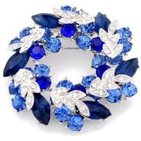Sapphire Blue Wreath Pin Brooch And Pendant(Chain Not Included)