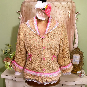 Gold Lace Jacket, Boho Beaded Bolero, Altered Couture Coat, Vintage Lace, Bohemian Folk Jacket, Alternative Wedding Jacket, Medium Large