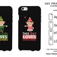 This Guy and Girl Loves Christmas Cute Elf Couple Phone Cases - 365 Printing Inc