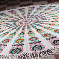 Roundie With Tassel Mandala Tapestry Peacock Feather Tablecloth Beach Towel Round Beach Sheet MeditationYoga Mat Bohemian Beach Hippie Decor