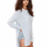 Long Sleeves Round Neck High Low Sweater  With Side Slits