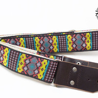 Hemp Guitar Strap - Southwestern Style Woven Ribbon on Hemp Webbing - guitar strap for acoustic, electric and bass guitars