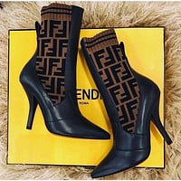Fendi Socks Type High Heel Shoes-20
