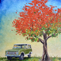 """1974 Green Ford Bronco original oil painting, 16"""" x 20"""" canvas, fathers day, gift, christmas, present, men, man, ford, bronco, 1970's, tree"""