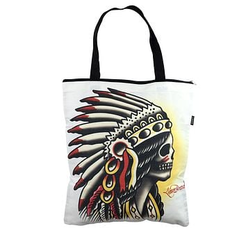 Liquorbrand Traditional American Tattoo Chieftain Large Tote Bag
