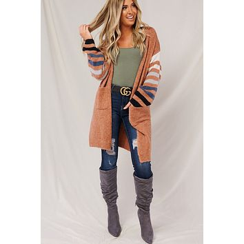 You're Too Late Striped Cardigan (Clay Combo)