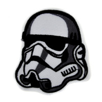 White Stormtrooper Helmet Patch Iron on Applique Alternative Clothing