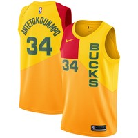 Men's Milwaukee Bucks #34 Giannis Antetokounmpo Nike Yellow 2018/19 Swingman Jersey – City Edition - Best Deal Online