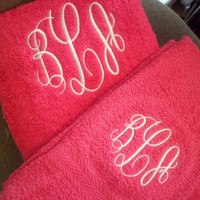 soft monogrammed towels...2 bath - 2 hand towels monogrammed with a three letter monogram for  men and women