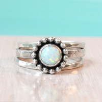 Opal ring set, sterling silver, with 6 mm white lab opal, 3 stacking rings, beaded setting, October birthstone, stackable, promise ring