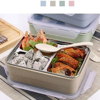 1.2L Stainless Steel Lunch Boxs Microwave Bento Box For Kids Multi-Grid Heating Insulation
