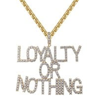 14k Gold Finish Loyalty Or Nothing Solitaire Pendant Chain