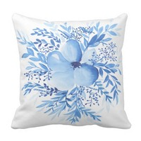 Bella Floral - Watercolor Flowers Throw Pillow