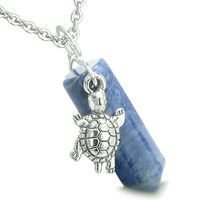 Amulet Turtle Lucky Charm Crystal Point Sodalite Positive Energy Pendant 22 Inch Necklace