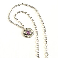 """Romantic and Petite - 14K White Gold 16"""" Necklace with Faceted Round Amethyst Stone in Byzantine Pendant, February Birthday"""