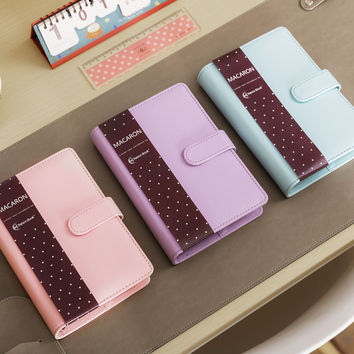 Cute Macaron Leather Spiral Notebook A5 A6 Original Office Personal Diary Week Planner Agenda Organizer Stationery Binder