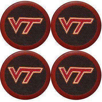 Virginia Tech Needlepoint Coasters in Black by Smathers & Branson
