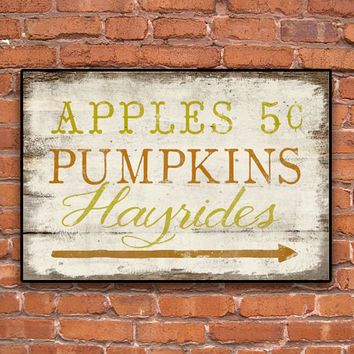 Fall wooden sign - Apples  Pumpkins Hayrides - Handmade - Approx. 13x19x3/4