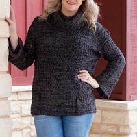 Finally Here Loose Knit Sweater With Cowl Neck ~ Charcoal ~ Sizes 4-10
