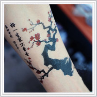 Tattoo temporary, Long lasting tattoo - flower tattoo, Japanese apricot flower