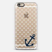 White Navy Nautical Polka Dot Transparent  iPhone 6 case by Organic Saturation | Casetify
