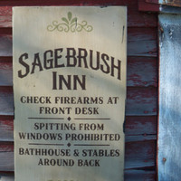 Sagebrush Inn primitive rustic wild west saloon old west hotel firearms bathhouse stables ghost town antique finish made in montana