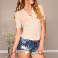 Julie Lace Up Top - Taupe